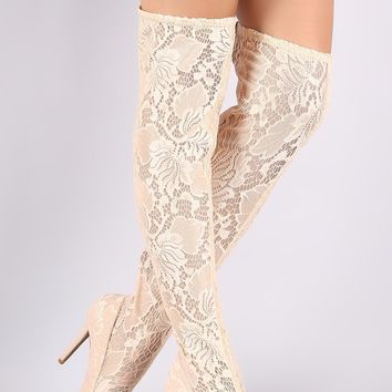 Qupid Floral Lace Pointy Toe Stiletto Over-The-Knee Boots