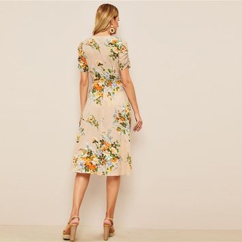 Retro Boho Apricot Floral Ruched Sleeve Surplice Neck Belted Midi Dress Women Fit and Flare Elegant Dresses