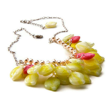 Pink Yellow beaded necklace, Bib Necklace, Bridal Necklace,  Wedding Jewelry