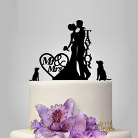 personalized wedding cake topper, couple silhouette wedding cake topper with two dog and heart decor funny cake topper, acrylic topper