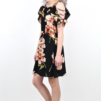 Strappy Shoulder Floral Blooms Dress {Black}