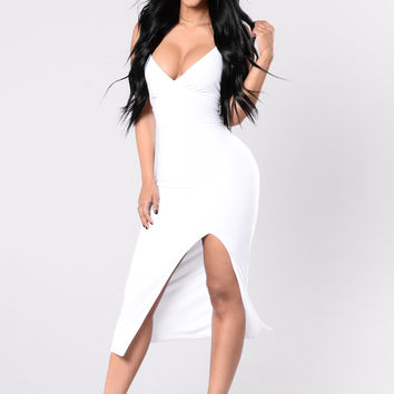 Let Em Stare Dress - White