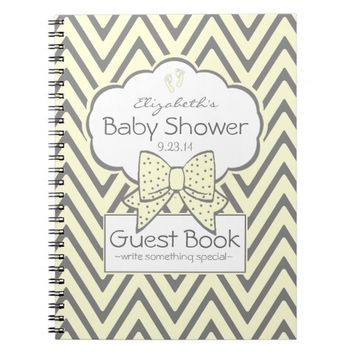 Yellow and Grey Chevron- Baby Shower Guest Book-