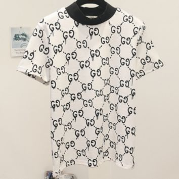 GUCCI 2018 spring and summer new women were thin double G letter print short sleeve F0241-1 White