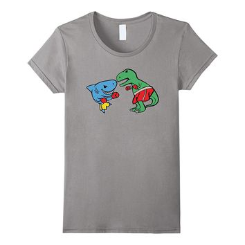 Shark Punching T-Rex Dinosaur Funny Fighting Boxing T Shirt