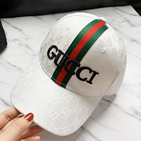 GUCCI Hot Sale Women Men Embroidery Sports Sun Hat Baseball Cap Hat White