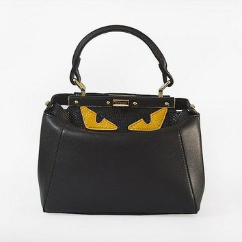 fendi fashion black textured leather shopper tote handbag bag