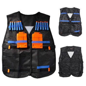 Tactical Vest For 12 Darts and 4 Ammo Clips In Nerf Elite N Strike Games Black