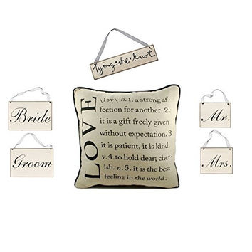 Newlywed Couple Gift Set - Definition of Love Cotton Throw Pillow and Sign Set - 6-Piece Set