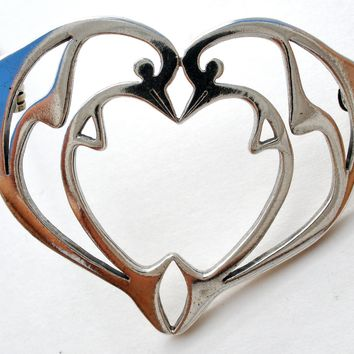 Double Dolphin Heart Brooch Pin by Frank Chavez