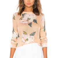 Show Me Your Mumu Cropped Varsity Sweater in Southern Magnolia Knit