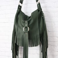 Forest Green Leather Hobo Bag / Leather Hobo Bag / Fringe Leather Hobo Bag