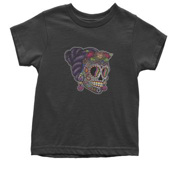 Skull With Hair Day Of The Dead Youth T-shirt