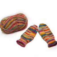 Colorful striped childrens mittens, handknit toddler gloves, baby mittens, wool mittens, winter accessories, red blue yellow