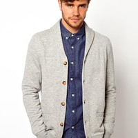 ASOS Sweat Cardigan With Shawl Collar - Gray marl