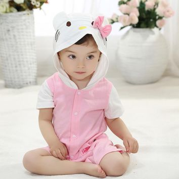 Summer Baby Clothes Short Romper Cartoon Animal Pink Hello Kitty Cat Cosplay Photo Props Jumpsuit Newborn Infant Sleepers Hooded