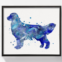 Blue Golden Retriever Art Print, Golden Retriever Painting, Watercolor Golden Retriever,Dog Art Print, Childrens Room Decor, Kids Room