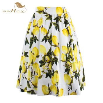 SISHION 50s Floral Skirts Womens faldas Summer Blue Yellow Lemon Plus Size Retro Casual Vintage Midi Skater Pleated Skirt VD0355