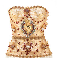 Golden Filigree Bustier With Allover Embellishment by Dolce & Gabbana - Moda Operandi