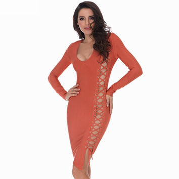 Sexy Lace Up Orange Bandage Dress