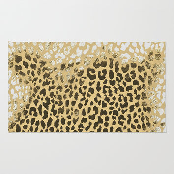 Golden Leopard Area & Throw Rug by M Studio