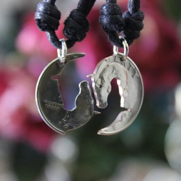 Yin Yang Horse Heads, interlocking necklaces, friendship pendants