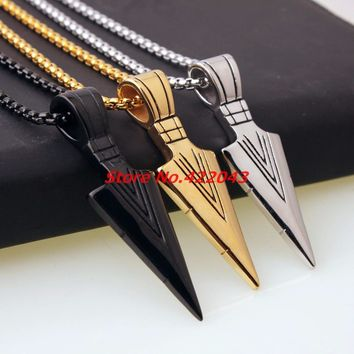 Fashion Mens Necklaces Stainless Steel Vintage Spearhead Arrowhead Pendant Necklace for Men Special Surf Bike Chocker Jewelry