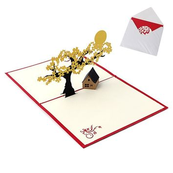2017 New Pop UP Holiday Greeting 3D Cards Cherry Tree House Christmas Thanksgiving Gift MAR23