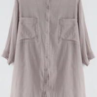 Grey Twin Pocket Buttoned Long Sleeve Tunic Top