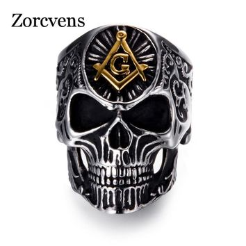 ZORCVENS 2018 Men Punk Rock Stainless Steel Masonic skull rings Punk Man's High Quality Personality Ring