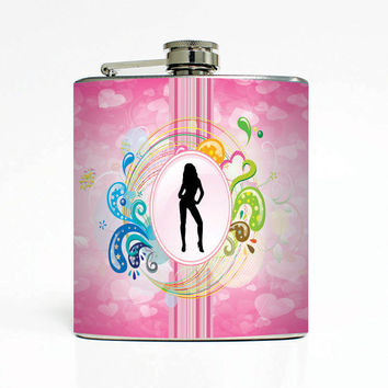Sexy Club/Sorority/Bar Style Designer 6 Oz Liquor Stainless Steel Hip Flask Weddings Groomsmen Bridesmaids Gift Whiskey Flask