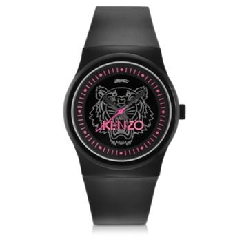 Kenzo Designer Women's Watches Black and Pink Small Tiger Watch