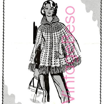 Retro CAPE CROCHET Pattern Buttoned Collar with Arm Slits & Fringe Instant Download Pdf Womens 1960s Vintage Crochet Pattern Mail Order