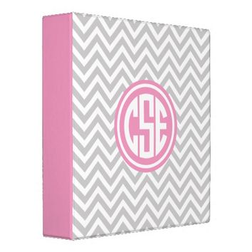 Gray and Pink Preppy Chevron Circle Monogram Vinyl Binders