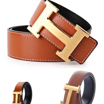 Leather Brown Hermes Belt H Metal Steel Slide Buckle Adjustable Men And Women H