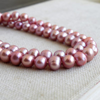 Freshwater Pearl Dusty Mauve Roundish Oval 7mm 58 beads Full Strand