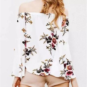 CREYONHS New 2017 Summer Fashion Women Blusa Full Floral Printed Off the Shoulder Round Neck with Elastic Butterfly Sleeve Casual Blouse
