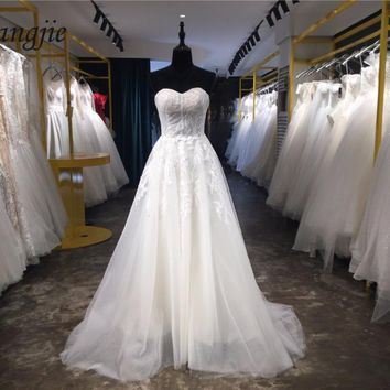 Lace Wedding Dresses 2018 Sweetheart Sleeveless Off the Shoulder Lace Up A-line Bridal Dresses with Sweep Train Vestido De Noiva