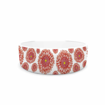 "Alisa Drukman ""Orange flowers. Gerbera"" Floral Pattern Pet Bowl"