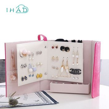 Creative Book shape Jewelry Box makeup organizer necklace/earring Stud Collection Portable travel Jewellery boxes Gift for girl