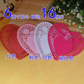 6inch heart red pink sweet table placemats lace paper doilies decoration papercrafts 100pcs/lot