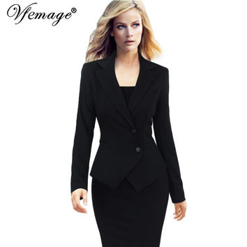 Vfemage Womens Elegant Autumn Winter Lapel Long Sleeve Tunic Slim Wear to Work Office Business Outwear Jacket Top Blazer 3986