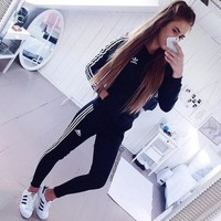 adidas Originals Supergirl Track Jacket Three Stripe Leggings Sweatpants Set Two-Piece