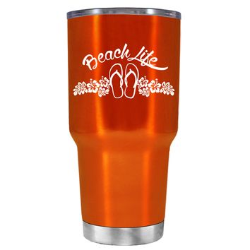Beach Life Flowers and Sandals on Translucent Orange 30 oz Tumbler Cup