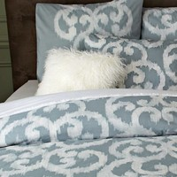 Organic Ikat Scroll Duvet Cover + Shams