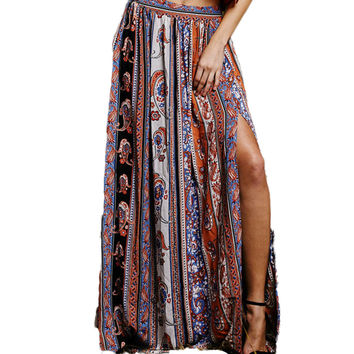 Women Summer Casual Bohemia Print Beach Kick Pleat Skirt