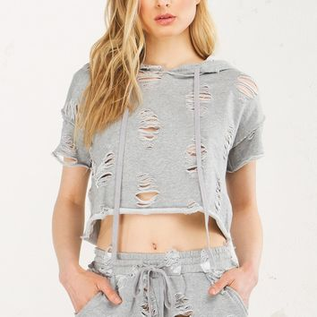 Ripped Crop Top in Grey