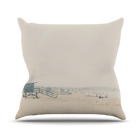 "Laura Evans ""Summer Haze"" Coastal Brown Throw Pillow"