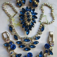 Vintage Unsigned Costume Jewelry Set Sapphire Blue
