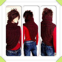 Katniss Inspired Hand Crocheted Cowl. Wool Crochet Cowl. Small/ Medium Size. FREE US shipping
